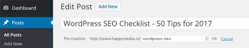 wordpress seo kraci url, izrada sajta happy media, beograd, cene